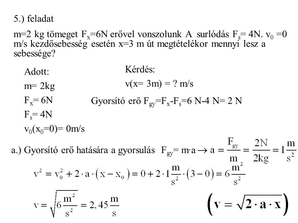 5.) feladat m=2 kg tömeget F x =6N erővel vonszolunk A surlódás F s = 4N. v 0 =0 m/s kezdősebesség esetén x=3 m út megtételékor mennyi lesz a sebesség