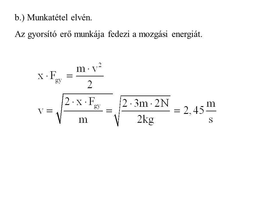 b.) Munkatétel elvén. Az gyorsító erő munkája fedezi a mozgási energiát.