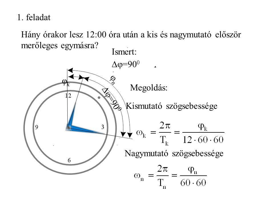 1. feladat Hány órakor lesz 12:00 óra után a kis és nagymutató először merőleges egymásra? φnφn  φ=90 0 φkφk Nagymutató szögsebessége Kismutató szögs