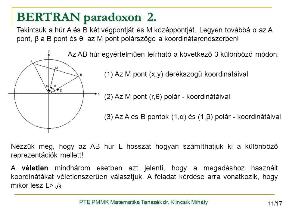 Tekintsük a húr A és B két végpontját és M középpontját. Legyen továbbá α az A pont, β a B pont és θ az M pont polárszöge a koordinátarendszerben! Az