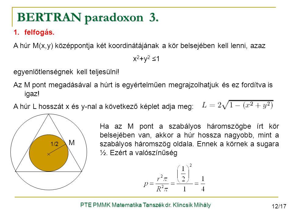 1.felfogás. A húr M(x,y) középpontja két koordinátájának a kör belsejében kell lenni, azaz x 2 +y 2 ≤1 egyenlőtlenségnek kell teljesülni! Az M pont me