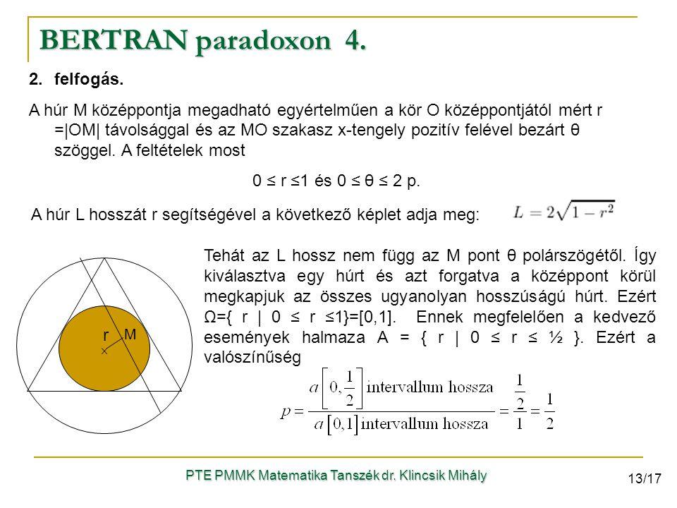 2.felfogás. A húr M középpontja megadható egyértelműen a kör O középpontjától mért r =|OM| távolsággal és az MO szakasz x-tengely pozitív felével bezá