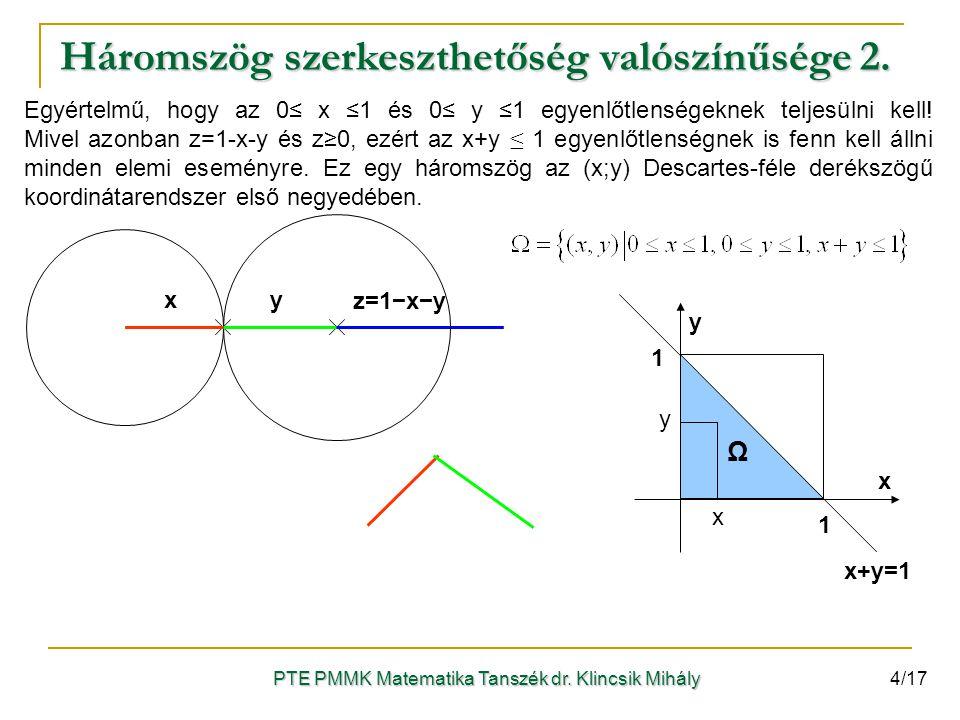 xy z=1−x−y x y 1 1 x+y=1 Ω x y Egyértelmű, hogy az 0≤ x ≤1 és 0≤ y ≤1 egyenlőtlenségeknek teljesülni kell! Mivel azonban z=1-x-y és z≥0, ezért az x+y