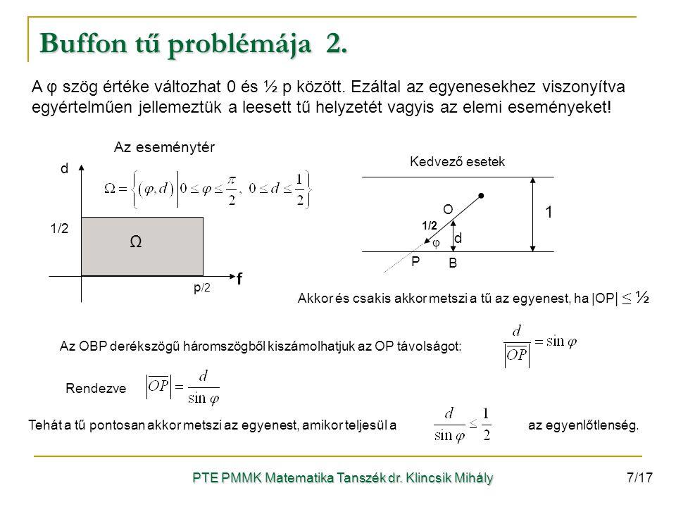 A φ szög értéke változhat 0 és ½ p között. Ezáltal az egyenesekhez viszonyítva egyértelműen jellemeztük a leesett tű helyzetét vagyis az elemi esemény