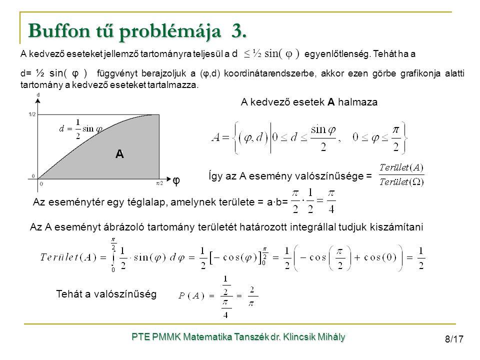 PTE PMMK Matematika Tanszék dr. Klincsik Mihály A φ A kedvező eseteket jellemző tartományra teljesül a d ≤ ½ sin( φ ) egyenlőtlenség. Tehát ha a d= ½