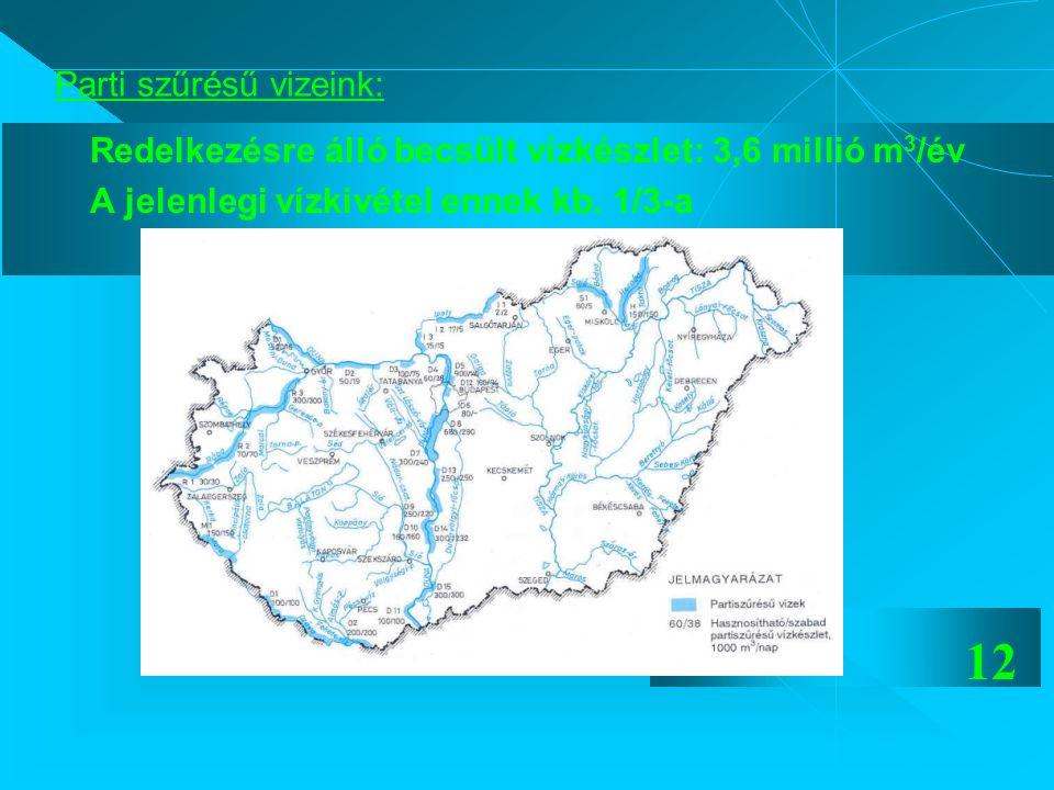 12 Parti szűrésű vizeink: Redelkezésre álló becsült vízkészlet: 3,6 millió m 3 /év A jelenlegi vízkivétel ennek kb. 1/3-a