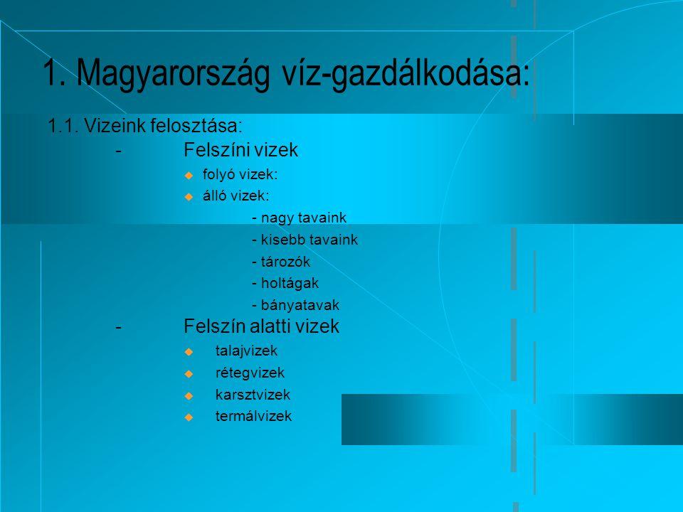 1. Magyarország víz-gazdálkodása: 1.1. Vizeink felosztása: -Felszíni vizek  folyó vizek:  álló vizek: - nagy tavaink - kisebb tavaink - tározók - ho
