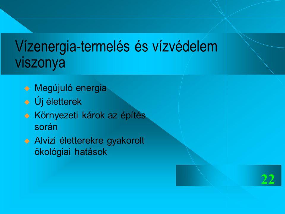 22 Vízenergia-termelés és vízvédelem viszonya  Megújuló energia  Új életterek  Környezeti károk az építés során  Alvizi életterekre gyakorolt ökol
