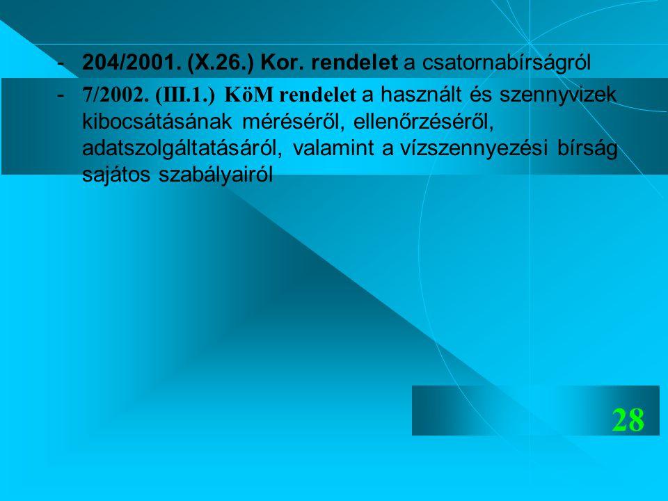 28 -204/2001. (X.26.) Kor. rendelet a csatornabírságról - 7/2002. (III.1.) KöM rendelet a használt és szennyvizek kibocsátásának méréséről, ellenőrzés