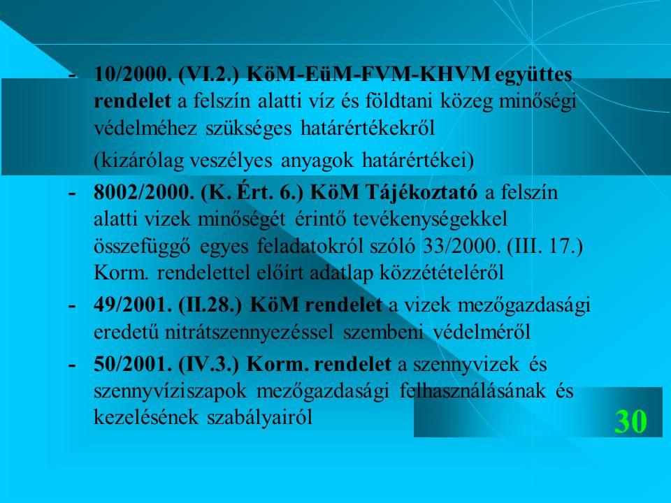 30 -10/2000. (VI.2.) KöM-EüM-FVM-KHVM együttes rendelet a felszín alatti víz és földtani közeg minőségi védelméhez szükséges határértékekről (kizáróla