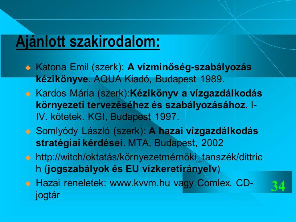 34 Ajánlott szakirodalom:  Katona Emil (szerk): A vízminőség-szabályozás kézikönyve. AQUA Kiadó, Budapest 1989.  Kardos Mária (szerk):Kézikönyv a ví