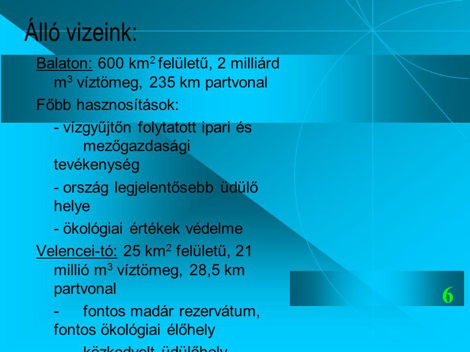 6 Álló vizeink: Balaton: 600 km 2 felületű, 2 milliárd m 3 víztömeg, 235 km partvonal Főbb hasznosítások: - vízgyűjtőn folytatott ipari és mezőgazdasá