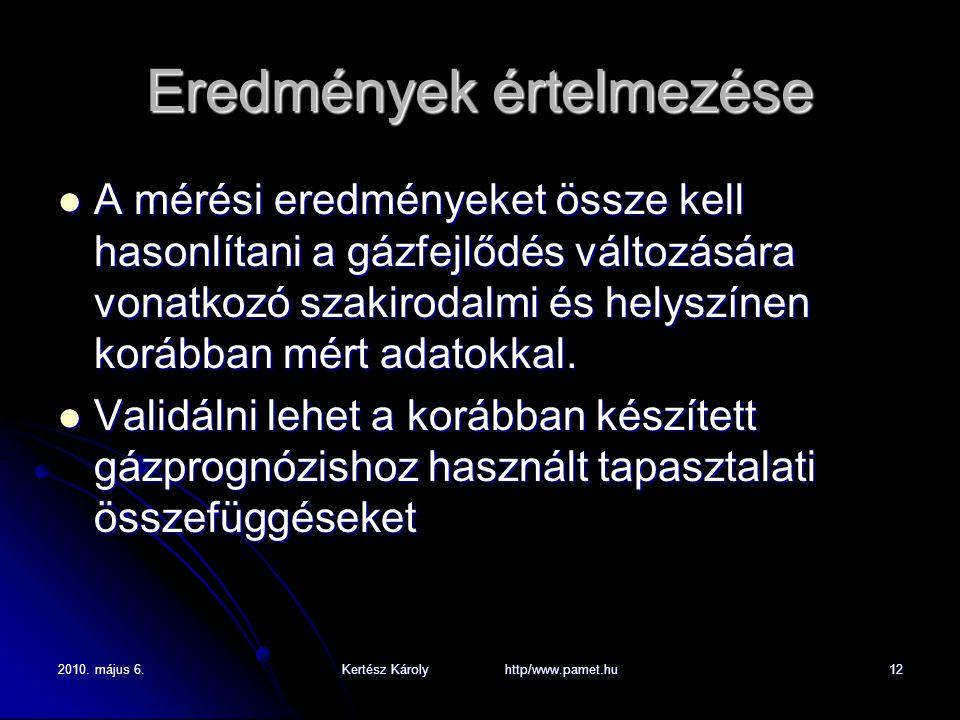 2010. május 6.Kertész Károly http/www.pamet.hu12 Eredmények értelmezése A mérési eredményeket össze kell hasonlítani a gázfejlődés változására vonatko