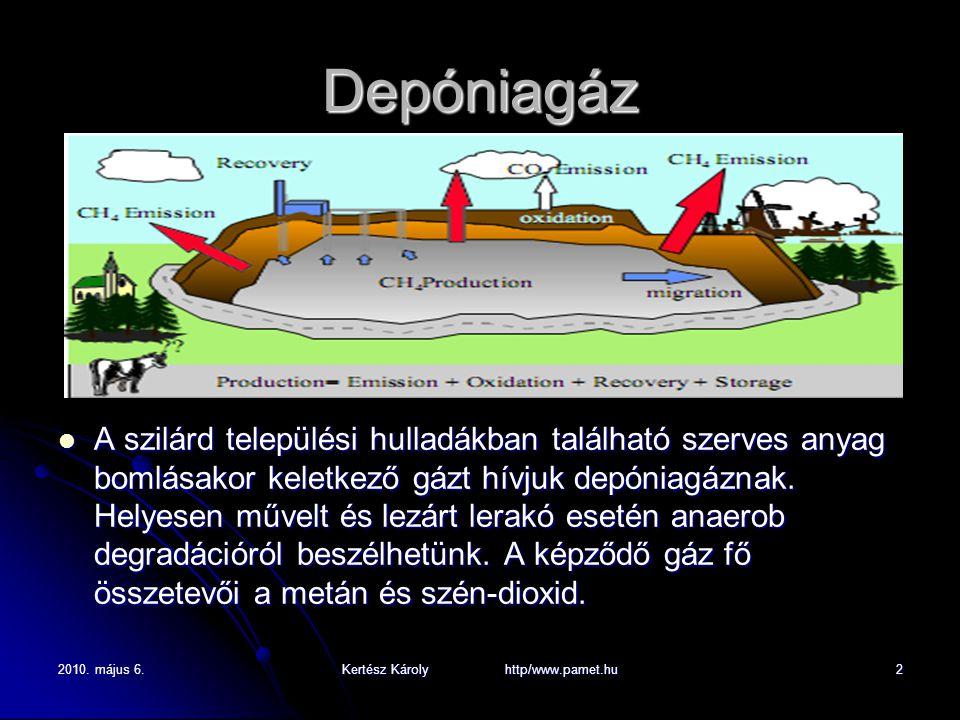 2010. május 6.Kertész Károly http/www.pamet.hu2 Depóniagáz A szilárd települési hulladákban található szerves anyag bomlásakor keletkező gázt hívjuk d