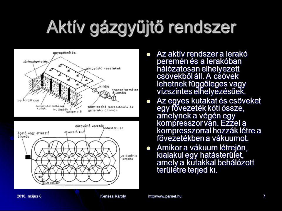 2010. május 6.Kertész Károly http/www.pamet.hu7 Aktív gázgyűjtő rendszer Az aktív rendszer a lerakó peremén és a lerakóban hálózatosan elhelyezett csö