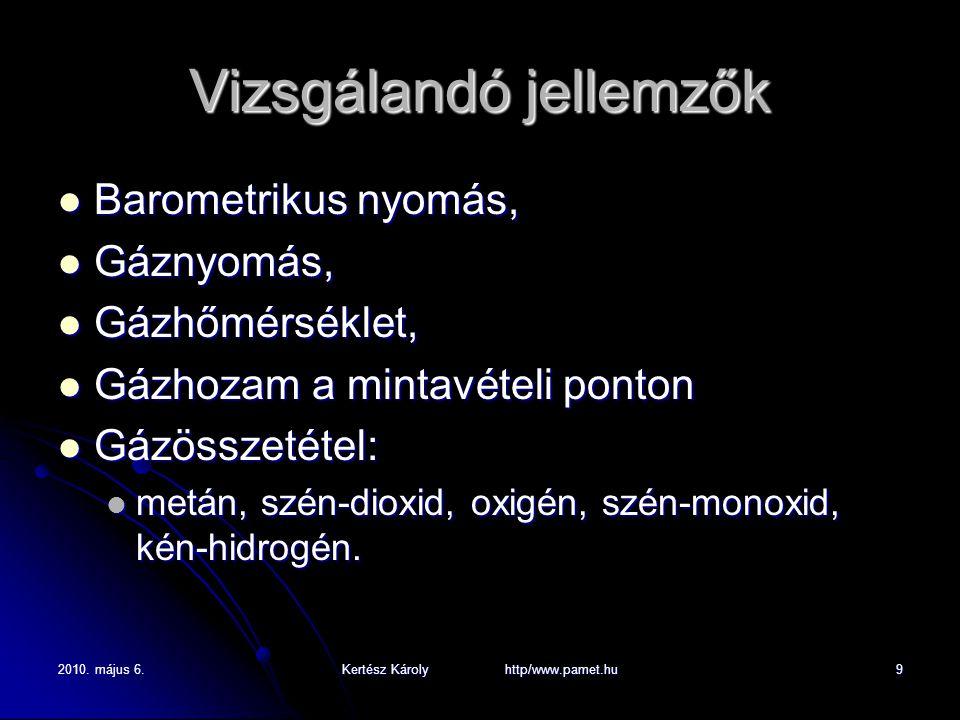 2010. május 6.Kertész Károly http/www.pamet.hu9 Vizsgálandó jellemzők Barometrikus nyomás, Barometrikus nyomás, Gáznyomás, Gáznyomás, Gázhőmérséklet,