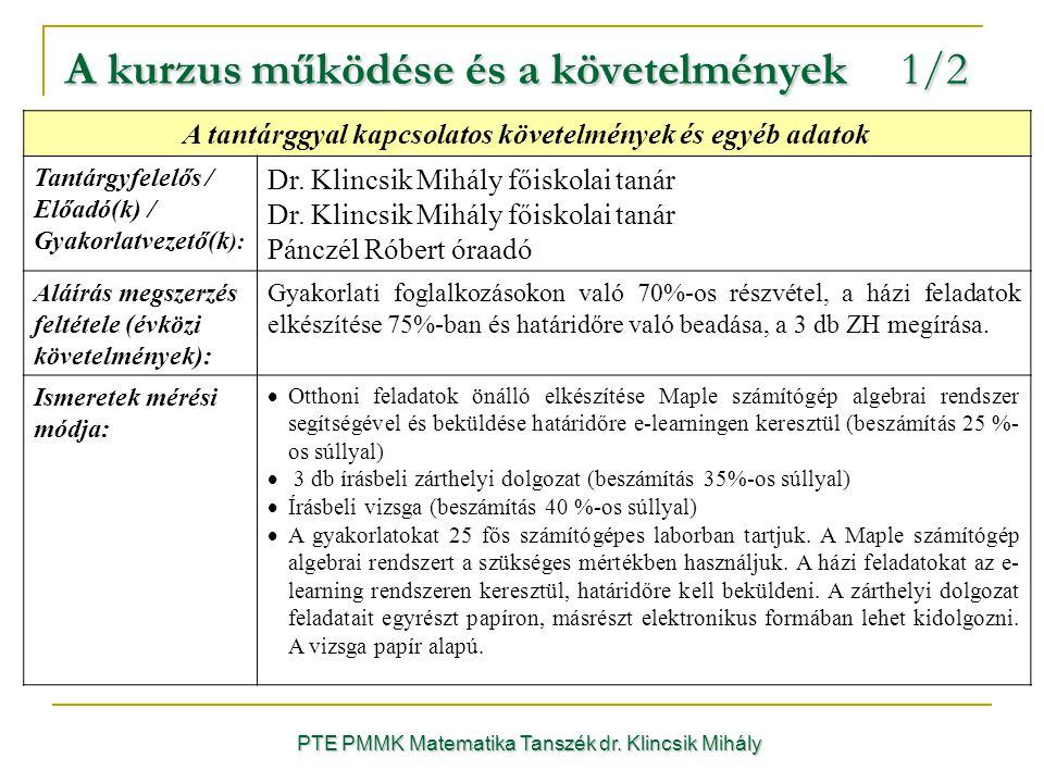 A kurzus működése és a követelmények 1/2 A tantárggyal kapcsolatos követelmények és egyéb adatok Tantárgyfelelős / Előadó(k) / Gyakorlatvezető(k ): Dr.