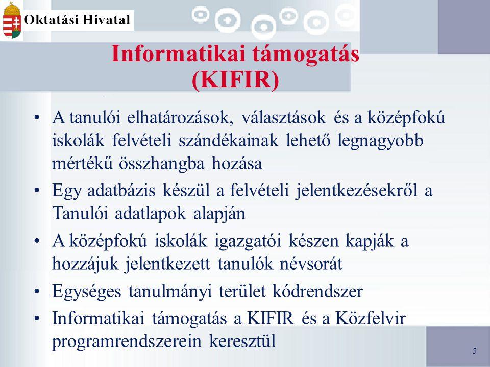 5 Informatikai támogatás (KIFIR) A tanulói elhatározások, választások és a középfokú iskolák felvételi szándékainak lehető legnagyobb mértékű összhangba hozása Egy adatbázis készül a felvételi jelentkezésekről a Tanulói adatlapok alapján A középfokú iskolák igazgatói készen kapják a hozzájuk jelentkezett tanulók névsorát Egységes tanulmányi terület kódrendszer Informatikai támogatás a KIFIR és a Közfelvir programrendszerein keresztül 5 Oktatási Hivatal