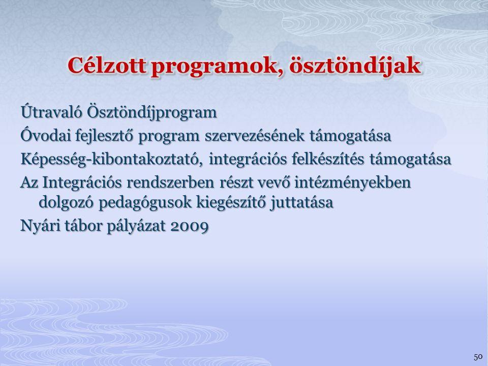 Útravaló Ösztöndíjprogram Óvodai fejlesztő program szervezésének támogatása Képesség-kibontakoztató, integrációs felkészítés támogatása Az Integrációs rendszerben részt vevő intézményekben dolgozó pedagógusok kiegészítő juttatása Nyári tábor pályázat 2009 50