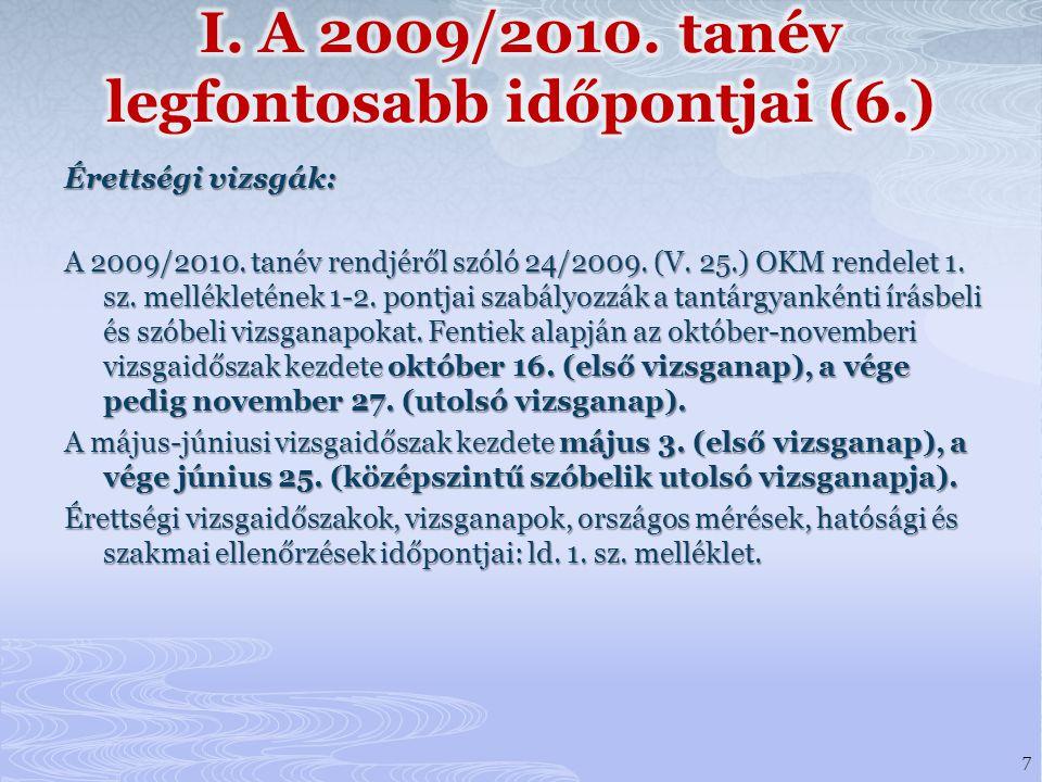 Érettségi vizsgák: A 2009/2010.tanév rendjéről szóló 24/2009.