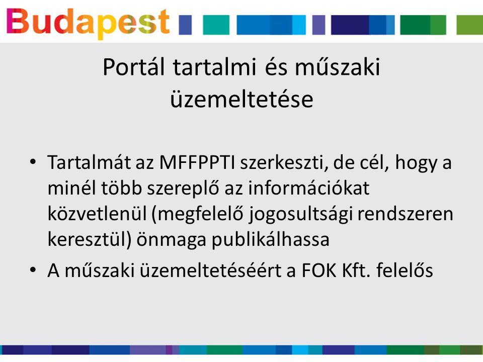 Portál tartalmi és műszaki üzemeltetése Tartalmát az MFFPPTI szerkeszti, de cél, hogy a minél több szereplő az információkat közvetlenül (megfelelő jo