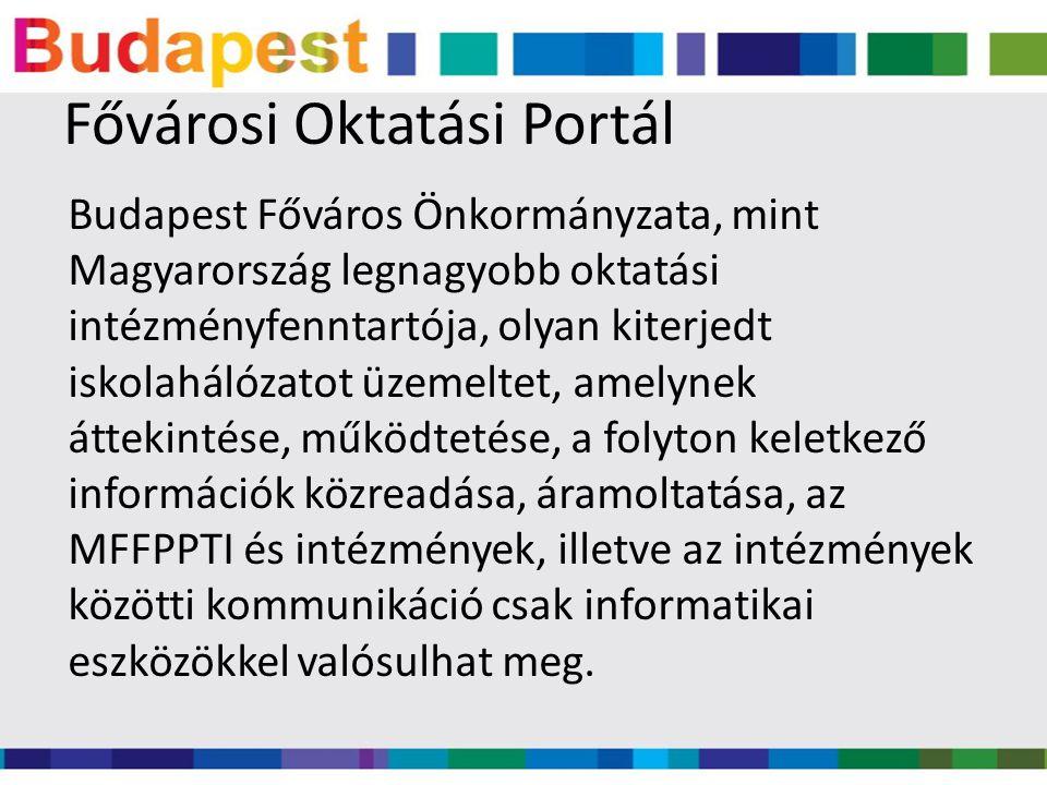 Portál tartalmi és műszaki üzemeltetése Tartalmát az MFFPPTI szerkeszti, de cél, hogy a minél több szereplő az információkat közvetlenül (megfelelő jogosultsági rendszeren keresztül) önmaga publikálhassa A műszaki üzemeltetéséért a FOK Kft.
