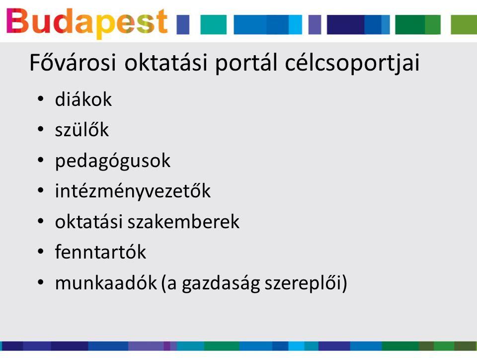 www.budapestedu.hu Folyamatosan megújuló, bővülő tartalom A fővárosi oktatás internetes központja Reagálni kíván a felmerülő igényekre, szükségletekre A későbbiekben folyamatosan bővülő alkalmazásokkal igyekszik kiszolgálni a portál célcsoportjait