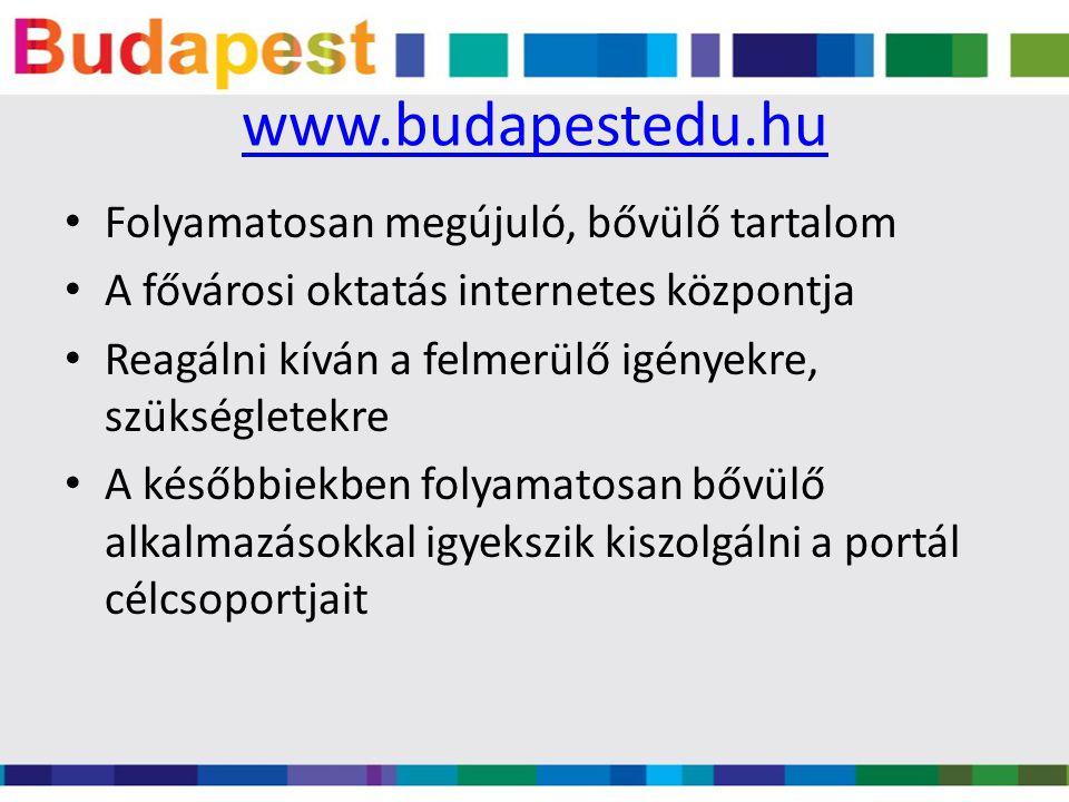 www.budapestedu.hu Folyamatosan megújuló, bővülő tartalom A fővárosi oktatás internetes központja Reagálni kíván a felmerülő igényekre, szükségletekre