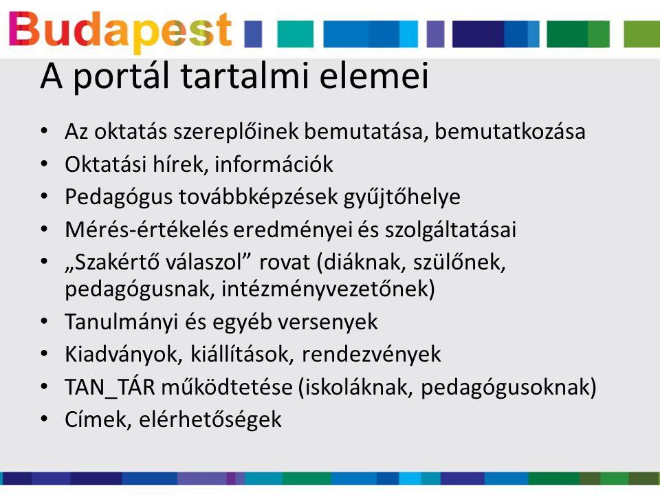 A portál tartalmi elemei Az oktatás szereplőinek bemutatása, bemutatkozása Oktatási hírek, információk Pedagógus továbbképzések gyűjtőhelye Mérés-érté