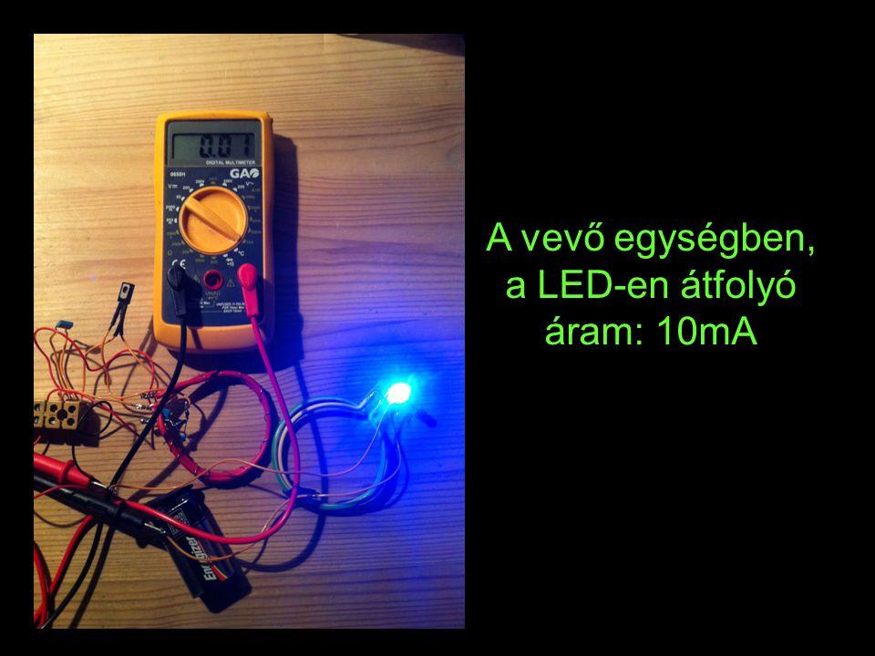 A vevő egységben, a LED-en átfolyó áram: 10mA