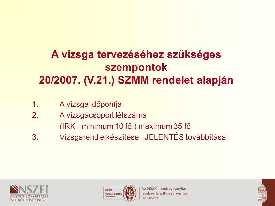 A vizsga tervezéséhez szükséges szempontok 20/2007.