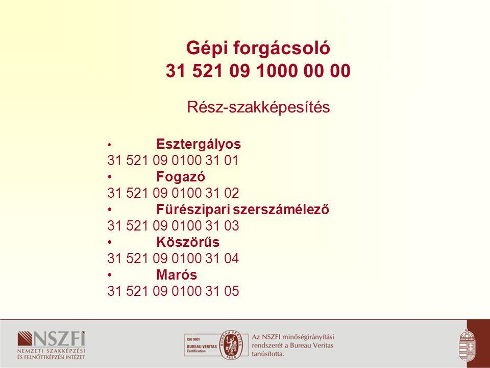 Gépi forgácsoló 31 521 091000 00 00 Bemeneti feltétel: 8.