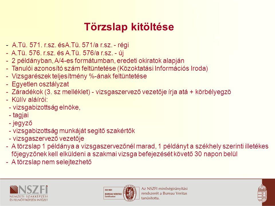Törzslap kitöltése - A.Tü.571. r.sz. ésA.Tü. 571/a r.sz.