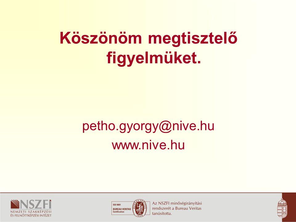 Köszönöm megtisztelő figyelmüket. petho.gyorgy@nive.hu www.nive.hu