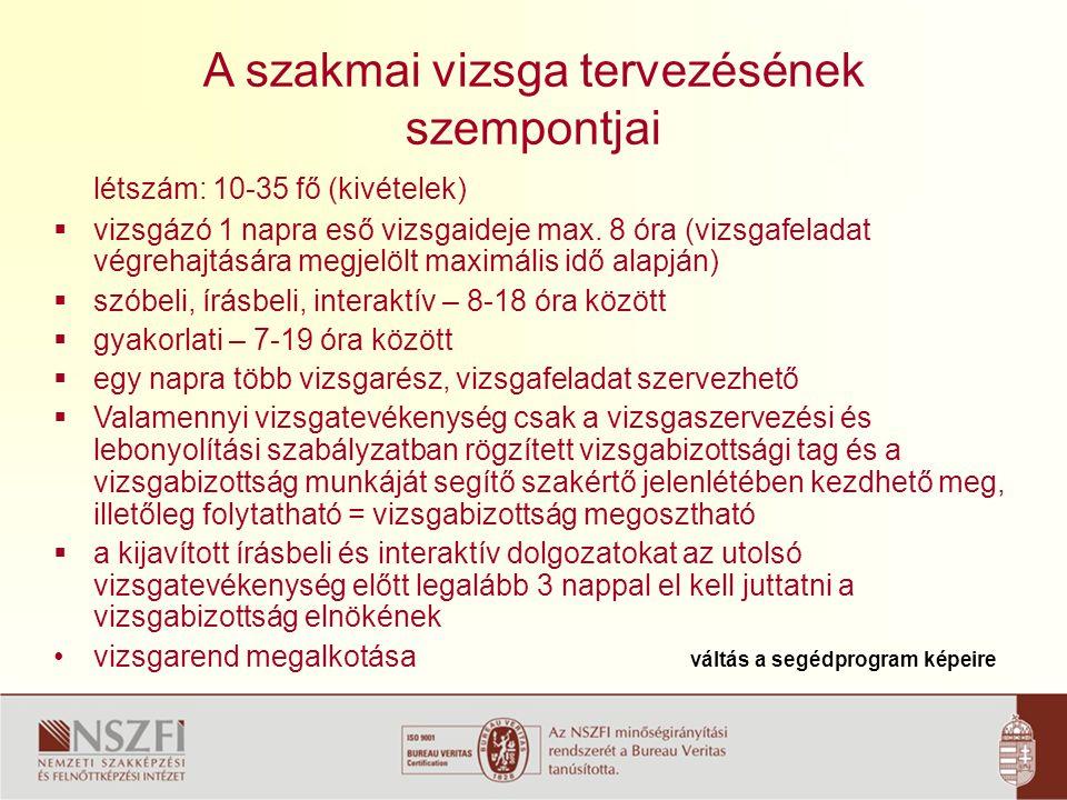 A szakmai vizsga lejelentése 1.Vizsgára jelentkezési lapok (6.