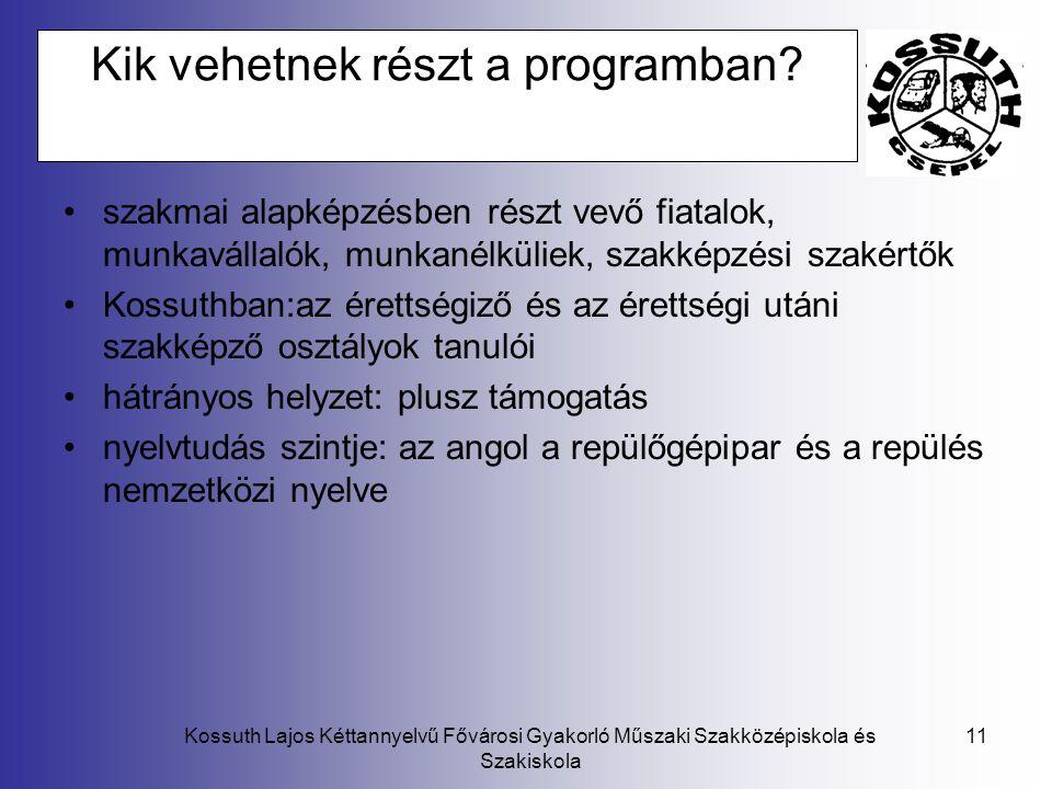 Kossuth Lajos Kéttannyelvű Fővárosi Gyakorló Műszaki Szakközépiskola és Szakiskola 11 Kik vehetnek részt a programban? szakmai alapképzésben részt vev