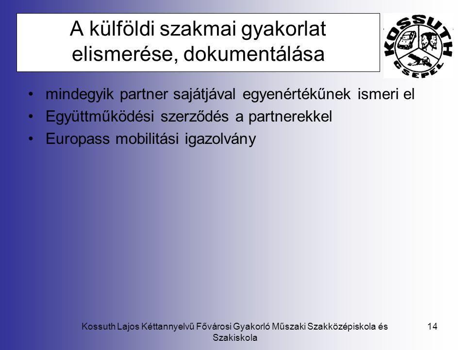 Kossuth Lajos Kéttannyelvű Fővárosi Gyakorló Műszaki Szakközépiskola és Szakiskola 14 A külföldi szakmai gyakorlat elismerése, dokumentálása mindegyik