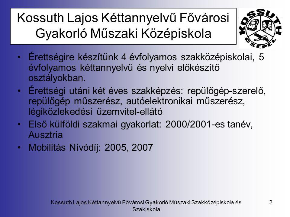Kossuth Lajos Kéttannyelvű Fővárosi Gyakorló Műszaki Szakközépiskola és Szakiskola 3 Leonardo mobilitás program A Leonardo da Vinci program az Európai Bizottság 1994-ben indult együttműködési programja a szakképzés területén.