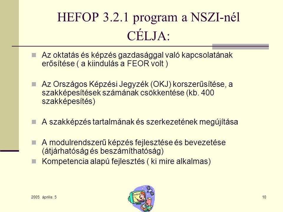 2005. április. 5 10 HEFOP 3.2.1 program a NSZI-nél CÉLJA: Az oktatás és képzés gazdasággal való kapcsolatának erősítése ( a kiindulás a FEOR volt ) Az