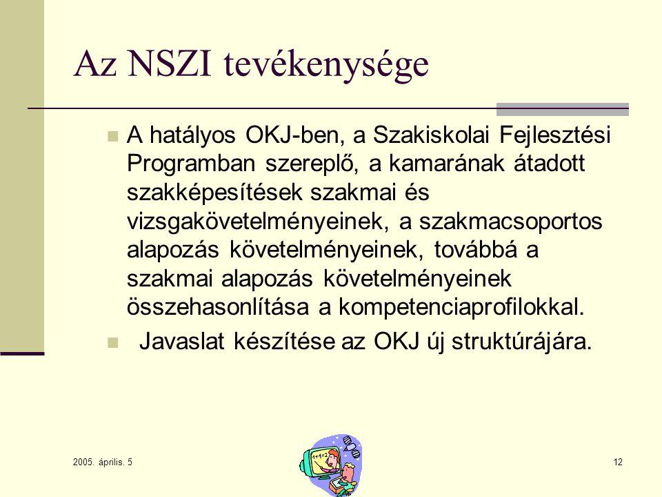 2005. április. 5 12 Az NSZI tevékenysége A hatályos OKJ-ben, a Szakiskolai Fejlesztési Programban szereplő, a kamarának átadott szakképesítések szakma