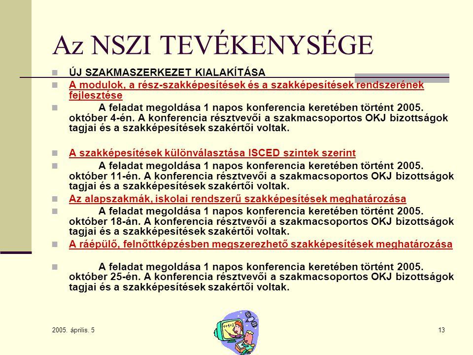 2005. április. 5 13 Az NSZI TEVÉKENYSÉGE ÚJ SZAKMASZERKEZET KIALAKÍTÁSA A modulok, a rész-szakképesítések és a szakképesítések rendszerének fejlesztés