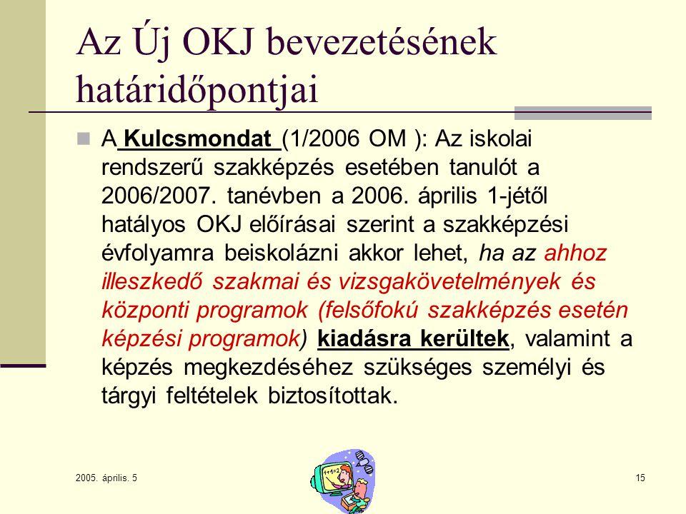 2005. április. 5 15 Az Új OKJ bevezetésének határidőpontjai A Kulcsmondat (1/2006 OM ): Az iskolai rendszerű szakképzés esetében tanulót a 2006/2007.