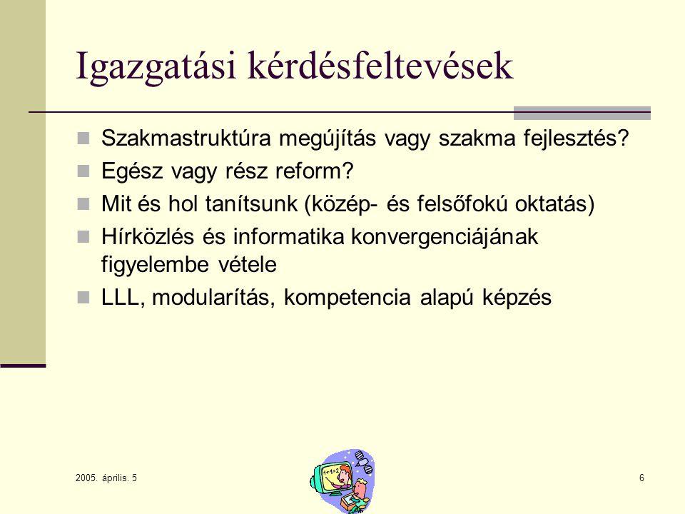 2005. április. 5 6 Igazgatási kérdésfeltevések Szakmastruktúra megújítás vagy szakma fejlesztés? Egész vagy rész reform? Mit és hol tanítsunk (közép-