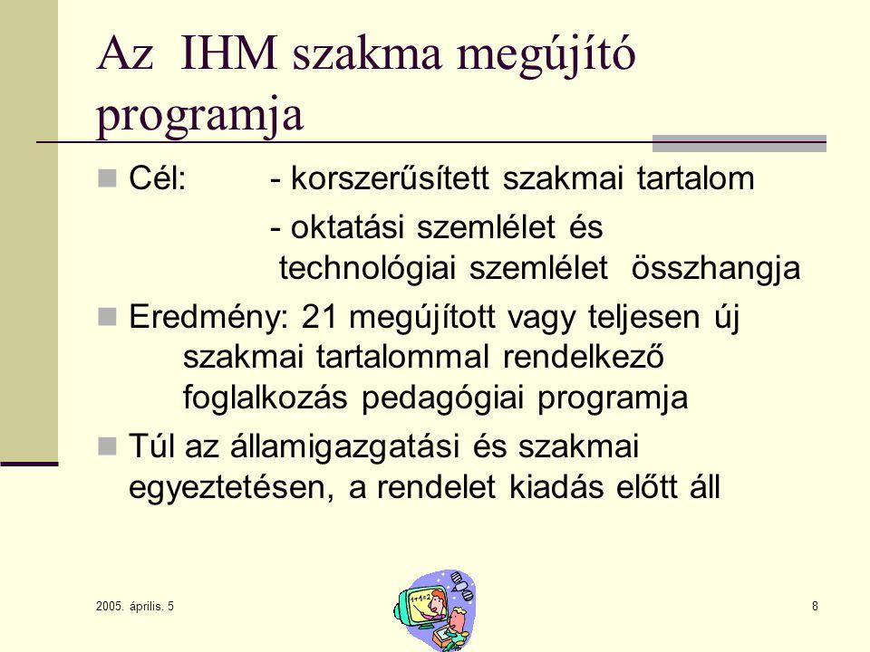 2005. április. 5 8 Az IHM szakma megújító programja Cél: - korszerűsített szakmai tartalom - oktatási szemlélet és technológiai szemlélet összhangja E