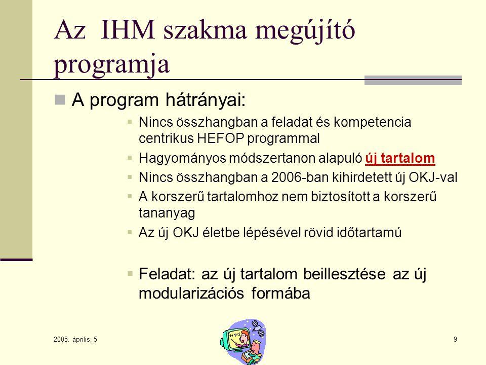 2005. április. 5 9 Az IHM szakma megújító programja A program hátrányai:  Nincs összhangban a feladat és kompetencia centrikus HEFOP programmal  Hag