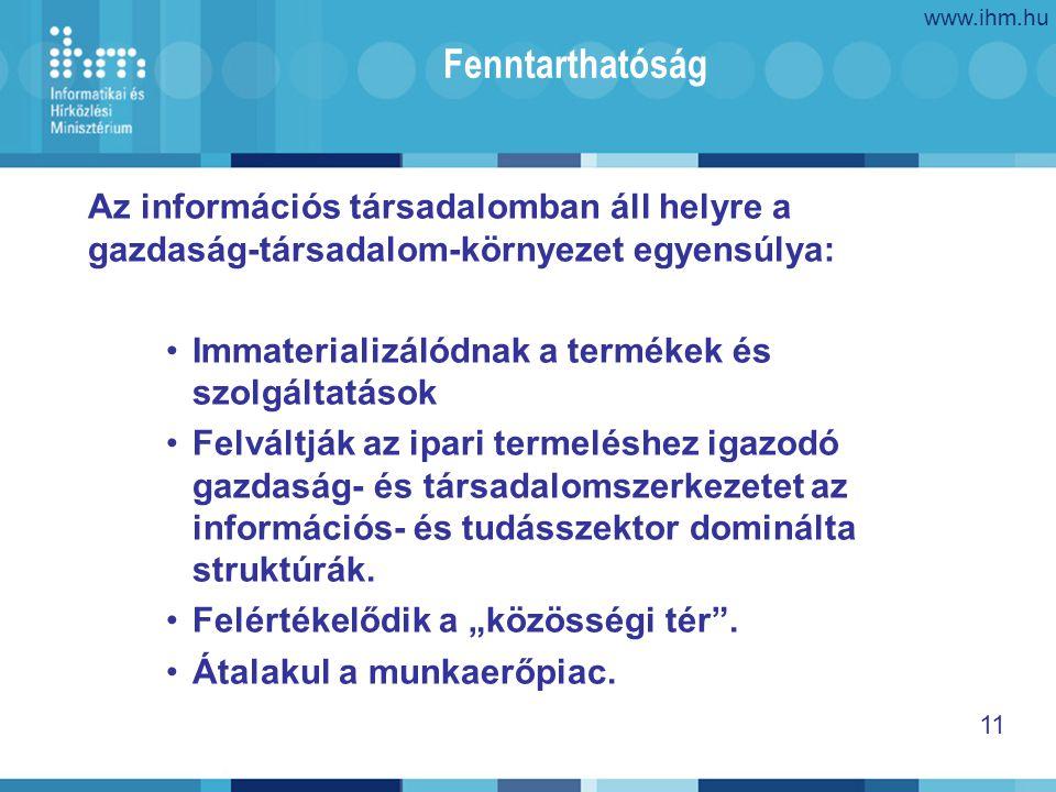 www.ihm.hu 11 Fenntarthatóság Az információs társadalomban áll helyre a gazdaság-társadalom-környezet egyensúlya: Immaterializálódnak a termékek és szolgáltatások Felváltják az ipari termeléshez igazodó gazdaság- és társadalomszerkezetet az információs- és tudásszektor dominálta struktúrák.