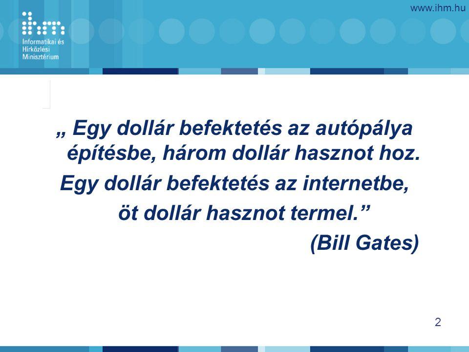 """www.ihm.hu 2 """" Egy dollár befektetés az autópálya építésbe, három dollár hasznot hoz."""