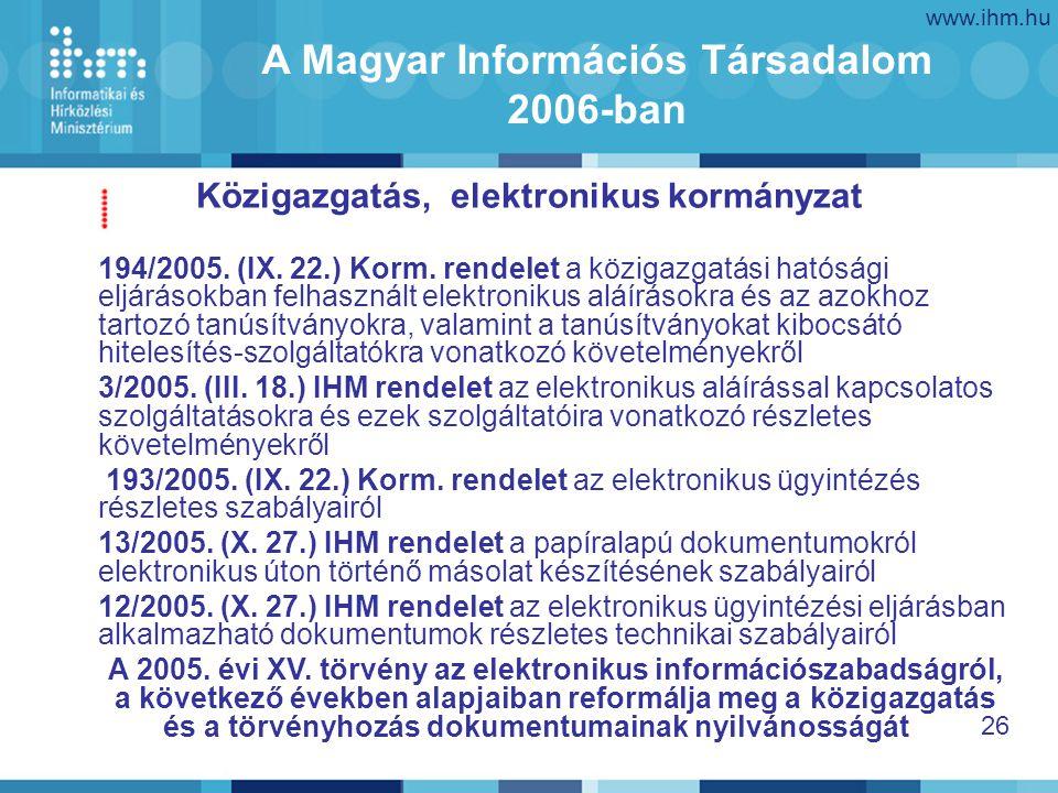 www.ihm.hu 26 Közigazgatás, elektronikus kormányzat A Magyar Információs Társadalom 2006-ban 194/2005.