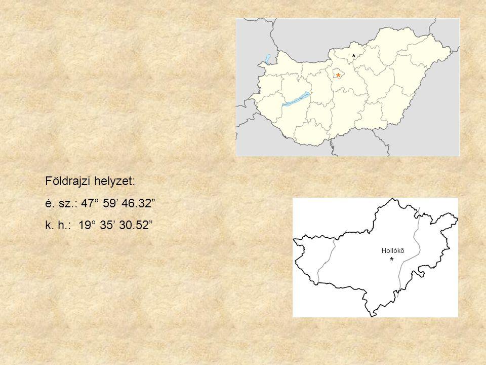 """Földrajzi helyzet: é. sz.: 47° 59' 46.32"""" k. h.: 19° 35' 30.52"""" * * Hollókő *"""