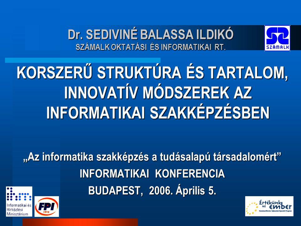 """Dr. SEDIVINÉ BALASSA ILDIKÓ SZÁMALK OKTATÁSI ÉS INFORMATIKAI RT. KORSZERŰ STRUKTÚRA ÉS TARTALOM, INNOVATÍV MÓDSZEREK AZ INFORMATIKAI SZAKKÉPZÉSBEN """"Az"""